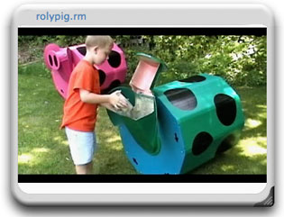A screen capture of a video of Roly Pig in use.