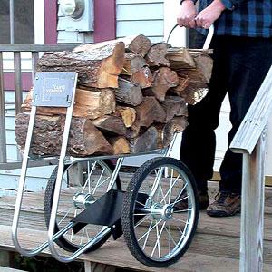 On wheels log carts log haulers makes restocking firewood easy