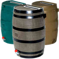 rain harvest flat-back 50 gallon rain barrel